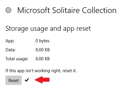 reset Microsoft solitaire collection app