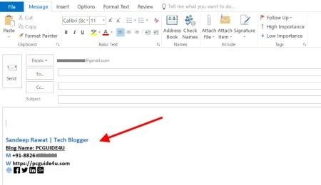 add Microsoft outlook signature