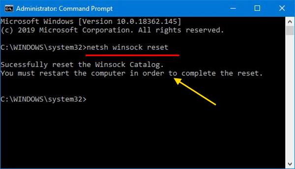 netsh winsock reset command