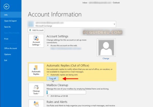 turn off out of office in outlook 2016