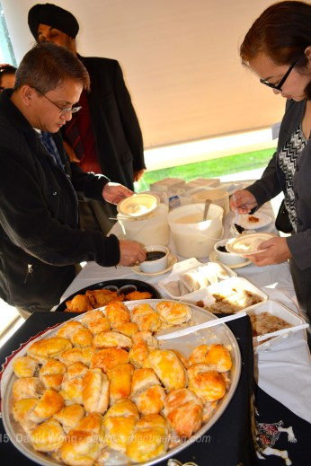 Guests help themselves to soy pudding sponsored by O! Taho and hopia sponsored by Kumare Restaurant & Bakery