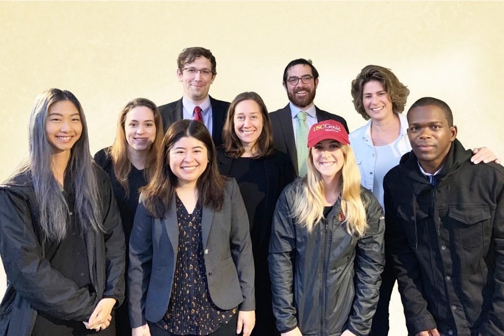 Frankie Guzman (Youth Law Center), Peraya Siriwong ('19). Sheryl, Kyla Wyatt ('19), Laura Donaldson ('16?), James Zapp ('19), Anna Feingold ('10?), Maggie Mendez ('19), Michael Casey ('19), me, Jawad James (former JLWOP).