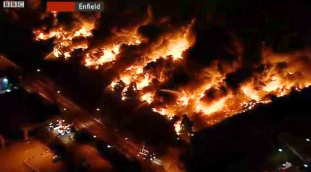 Sony Warehouse On Fire