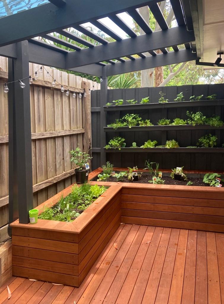 Deck, pergola, retaining wall, planter boxes and vertical garden build