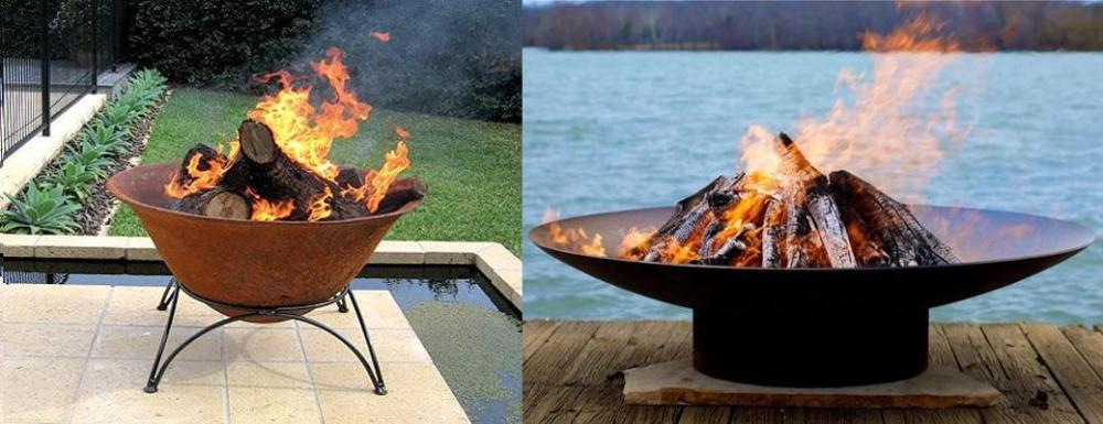 Open bowl fire pits