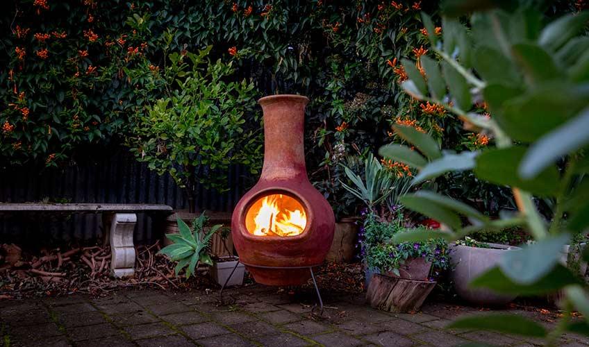 Traditional chimenea open fireplace