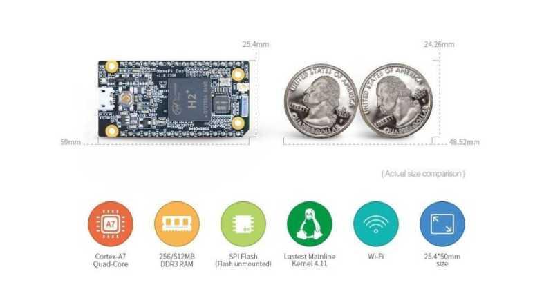 NanoPi Duo - одноплатный компьютер размером в две монеты с SoC от Allwinner H2+