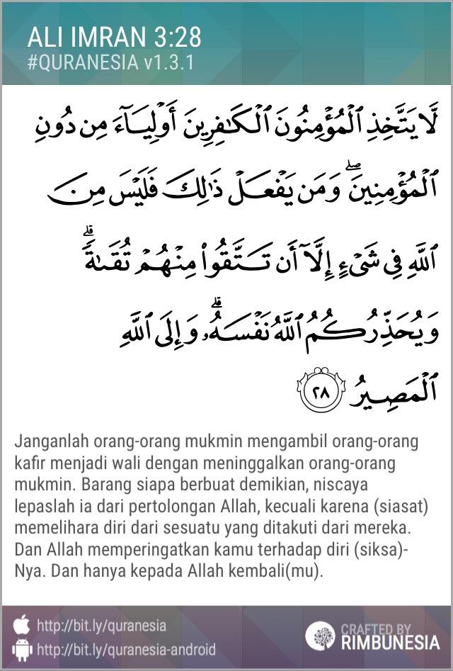Quran Ali Imron 28 dan Arti