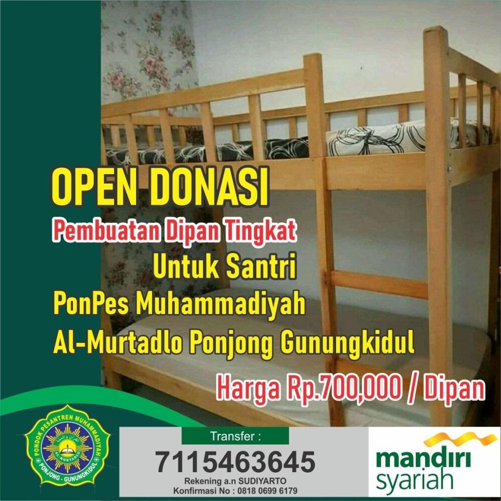 Open Donasi Pembuatan Dipan Tingkat Pondok Al Murtadlo Muhammadiyah