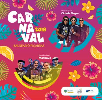 Balneário Piçarras anuncia shows nacionais para o carnaval