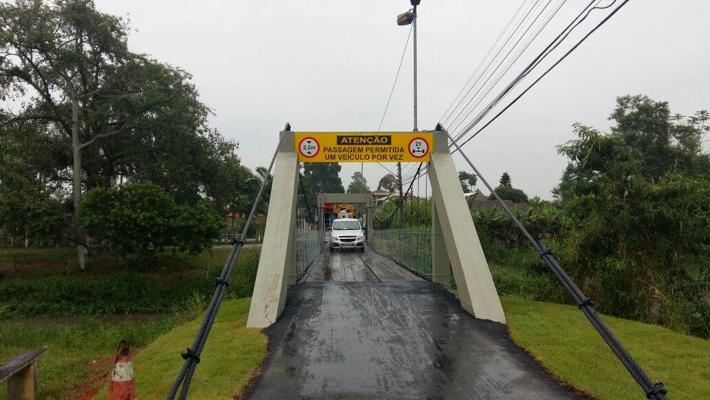 Ponte Pênsil do Carvalho será reaberta para o trânsito de veículos