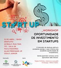 """Workshop sobre """"Oportunidades de investimentos em startups"""" acontece nesta quinta-feira"""
