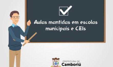 Camboriú mantém aulas em escolas e creches na próxima semana