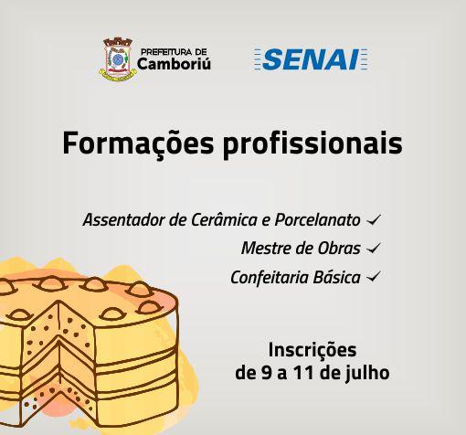 Abertas as inscrições para formações profissionais em Camboriú
