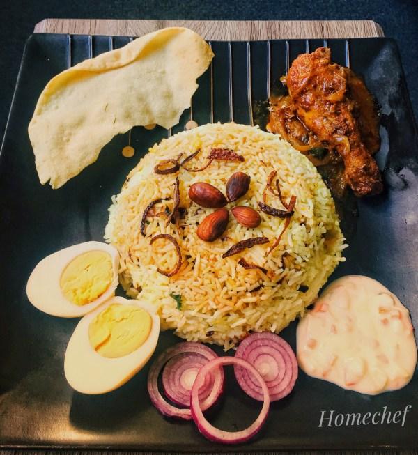 Layered Chicken Biriyani