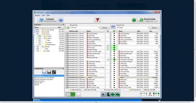"Free File Sync's interface. The 'Source"" drive is shown on the left, the ""Target"" on the right."