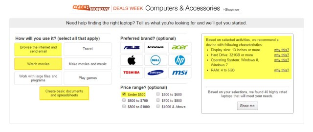 I've highlighted the things I plan to do with the laptop and on the right, Amazon calculates the specs I need.