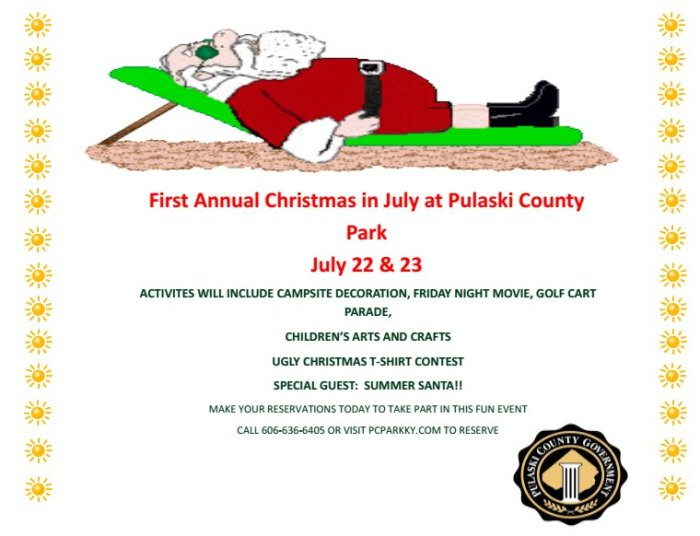 Camping Christmas In July Ideas.Christmas In July 2016 Pulaski County Park
