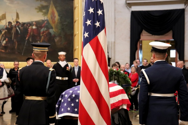 Scenes from the public tribute to George Herbert Walker Bush