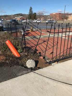 Ratliffe Museum fence, brick garden damaged