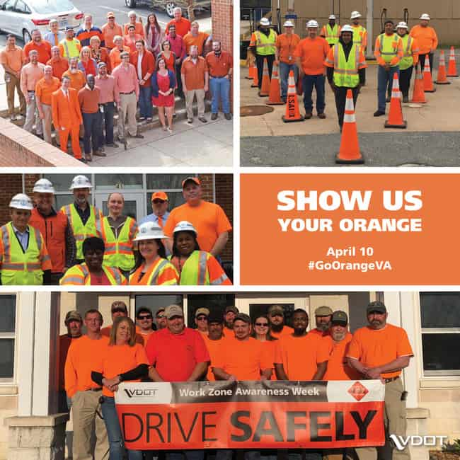 Wednesday is 'Go Orange Day' for National Work Zone Awareness Week