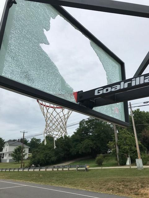 Draper Park backboard struck by vandals again