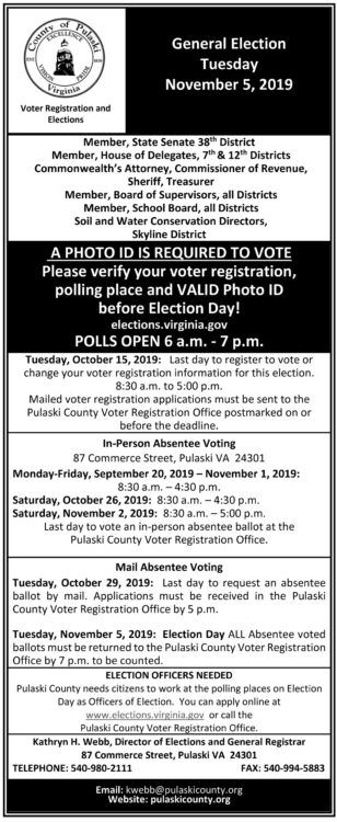 General Election Day is Tuesday, Nov. 5