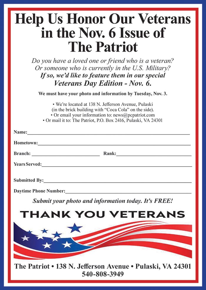 Salute Your Special Veteran in our Nov. 6 Veterans Day Edition