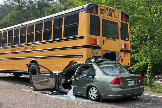 Russell County school bus rear-ended by car
