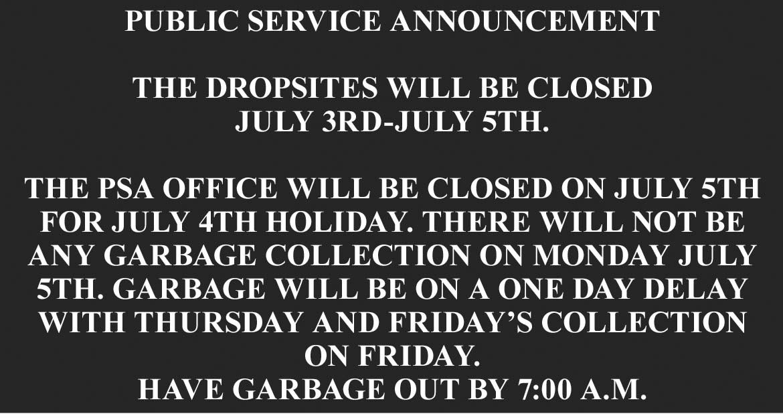 Pulaski County PSA July 4th Schedule