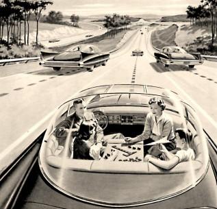 """Novinska reklama iz 1957. za Central Power and Light Company: """"Elektrika može da bude vozač. Jednoga dana mogli biste da jurite električnim autoputem, a brzina i smer bili bi automatski regulisani elektronskim uređajima ugrađenim u kolovoz. Autoput će postati siguran – zahvaljujući električnoj struji! Bez saobraćajnih zastoja... Bez sudara... Bez zamaranja vozača"""""""