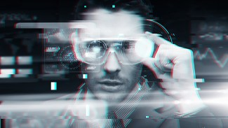cyberspace, augmented reality, technology and people - man in 3d glasses with virtual screens over glitch effect