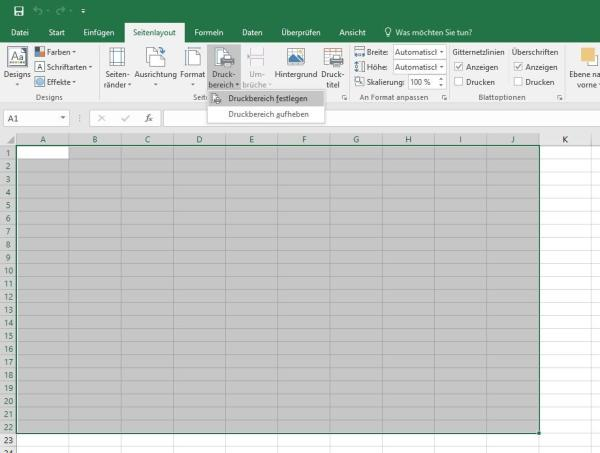 Druckbereich festlegen in Excel 2016