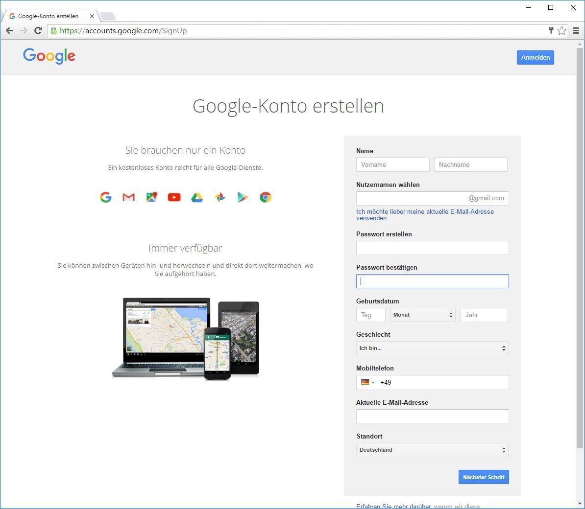 Google konto anmelden