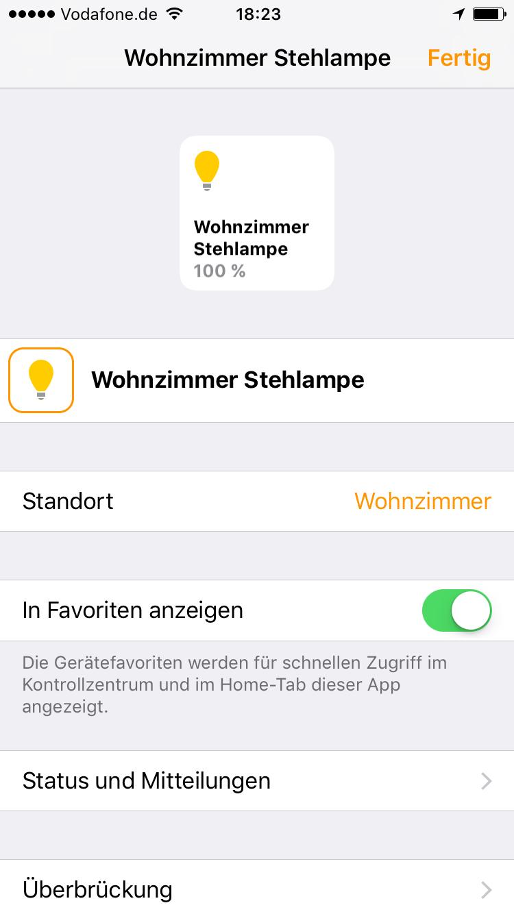 Home App - Gerät bearbeiten