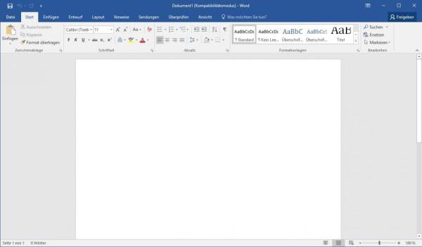 Leeres Dokument in Word 2016