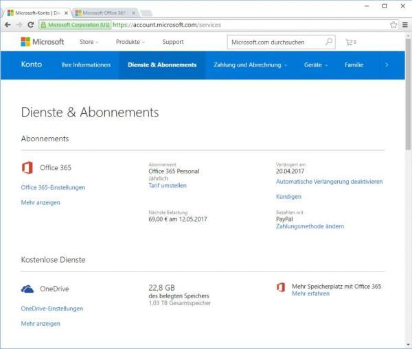 Office 365 Abonnements