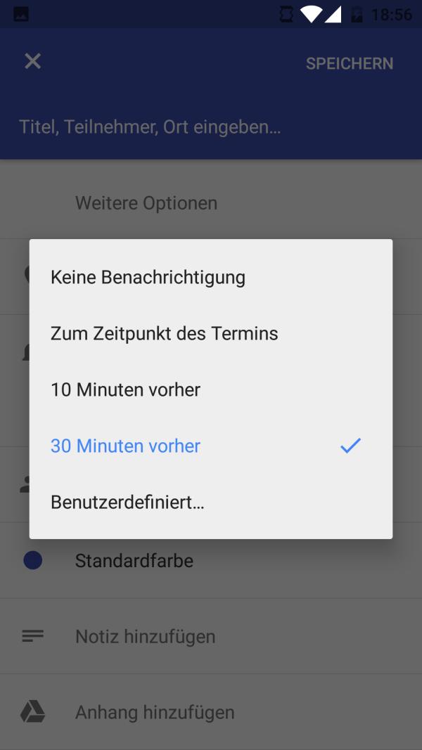 Terminbenachrichtigung im Kalender von Android 6