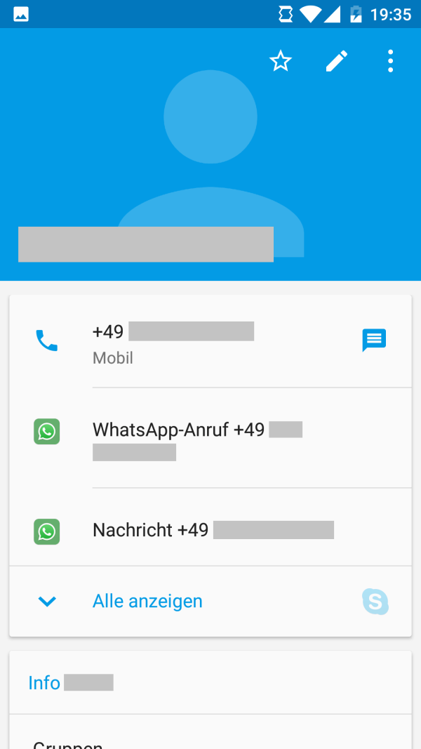 Kontaktinformationen in Android 6