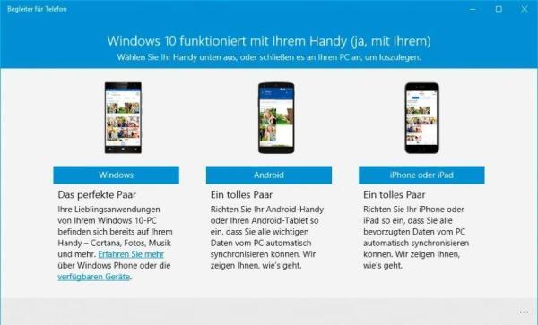 Begleiter für Telefon in Windows 10