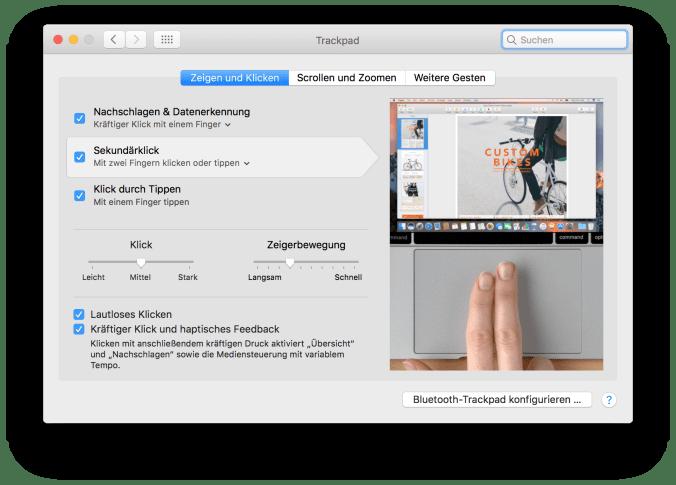 Multi-Touch-Gesten für das Trackpad einstellen