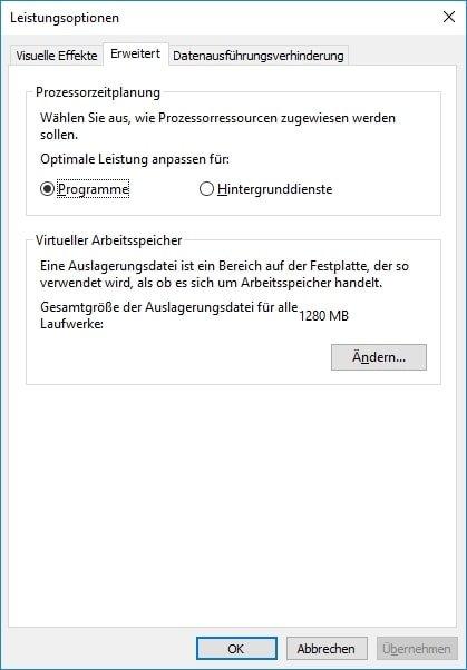 Windows 10 Auslagerungsdatei verkleinern