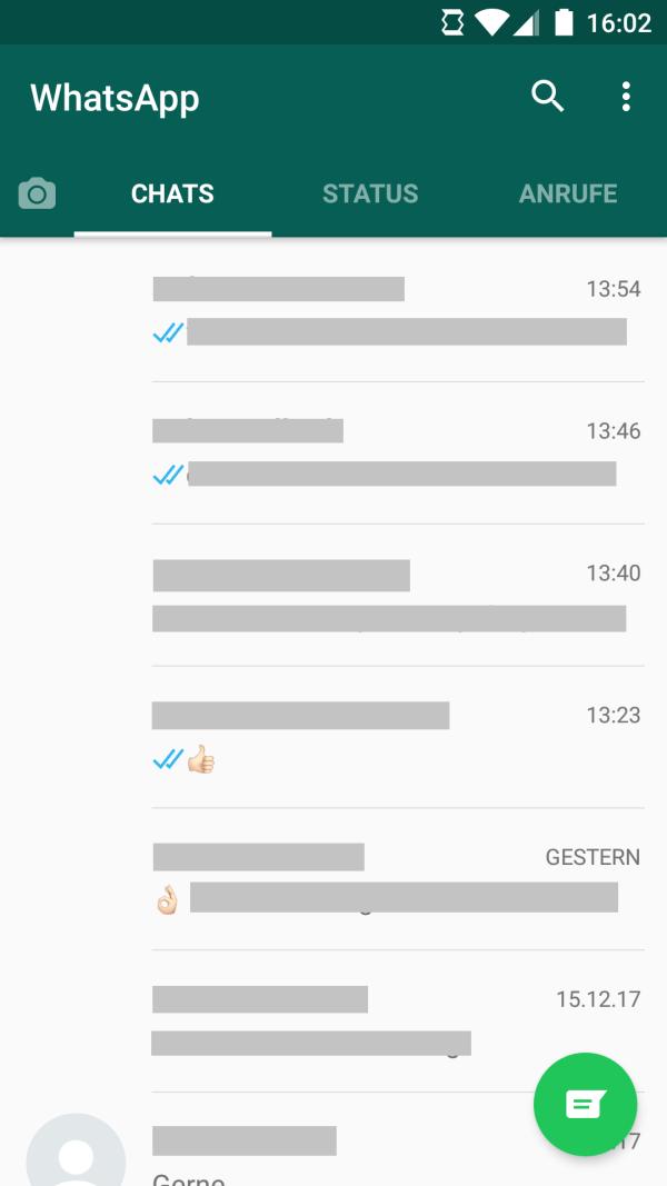 WhatsApp Chatübersicht
