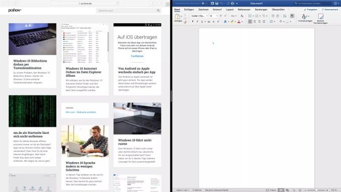 Im Mac zwei Fenster nebeneinander anordnen