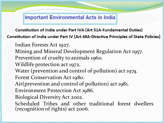 important Environmental Acts in India