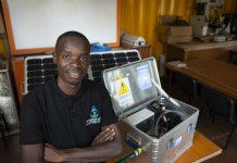 Kayondo Timothy shortlisted for the 2020 Africa Prize for Engineering Innovation, has developed an 'Eco Water Purifier' — a digital system that turns waste into an activated carbon water filter. Photo by: RAE