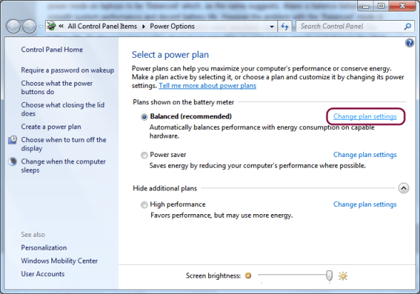 Windows 7 Power Options