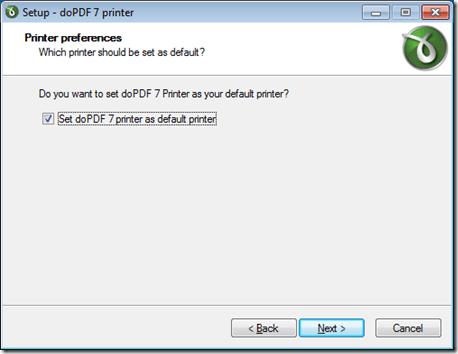dopdf default printer
