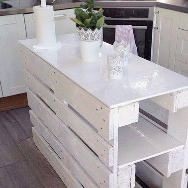 Un Ilot De Cuisine En Palette Bois Tout En Blanc Deco Cool Pctr Up