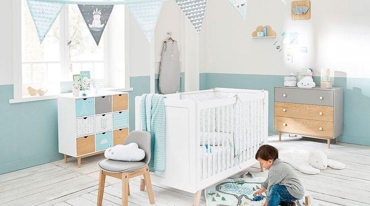 chambre bebe garcon bleu et bois pctr up